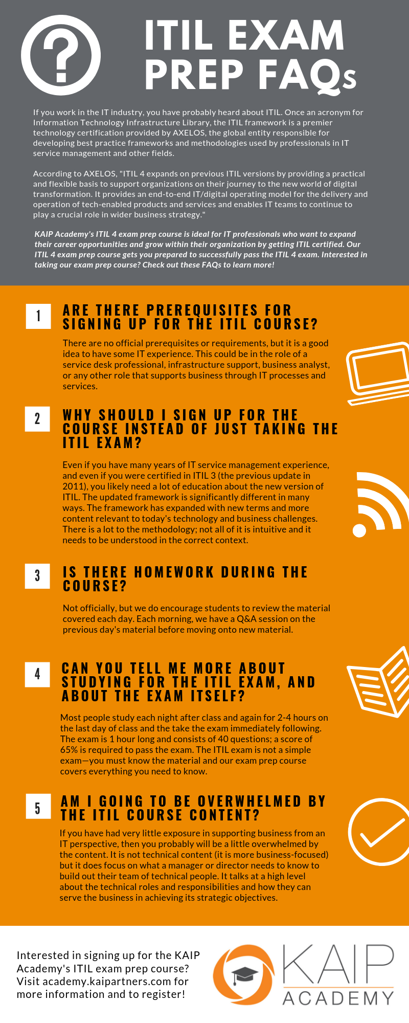 ITIL 4 Exam Prep FAQs [INFOGRAPHIC] | KAI Partners